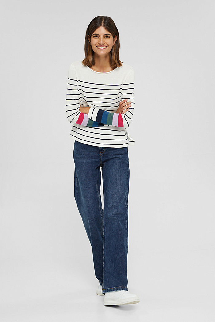 Striped jumper in 100% cotton, NEW OFF WHITE, detail image number 1