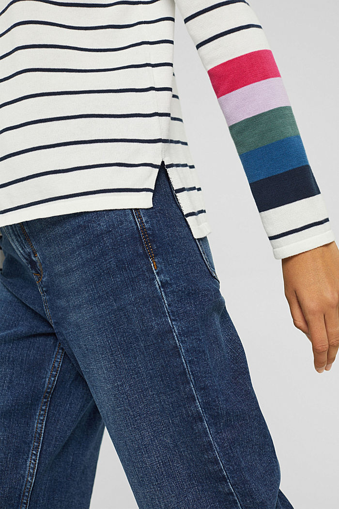 Striped jumper in 100% cotton, NEW OFF WHITE, detail image number 2