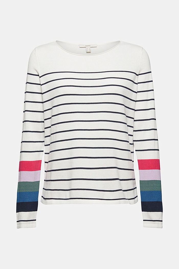Striped jumper in 100% cotton, NEW OFF WHITE, detail image number 6