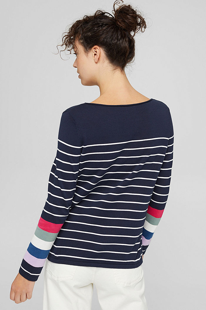 Pull-over rayé, 100 % coton, NAVY, detail image number 3
