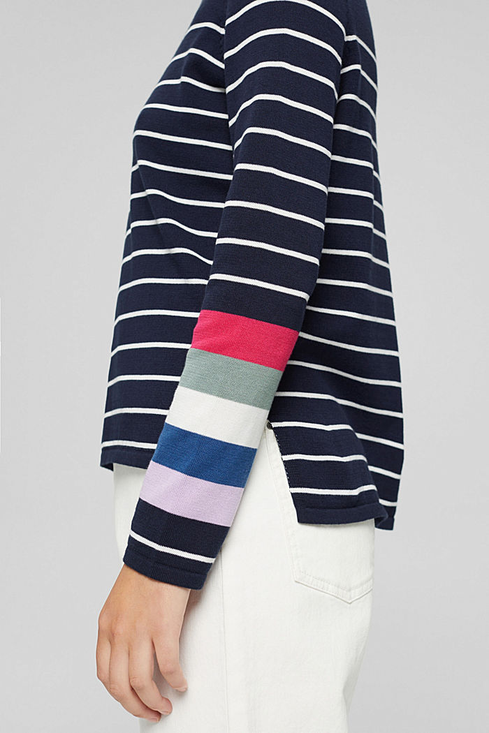 Pull-over rayé, 100 % coton, NAVY, detail image number 2