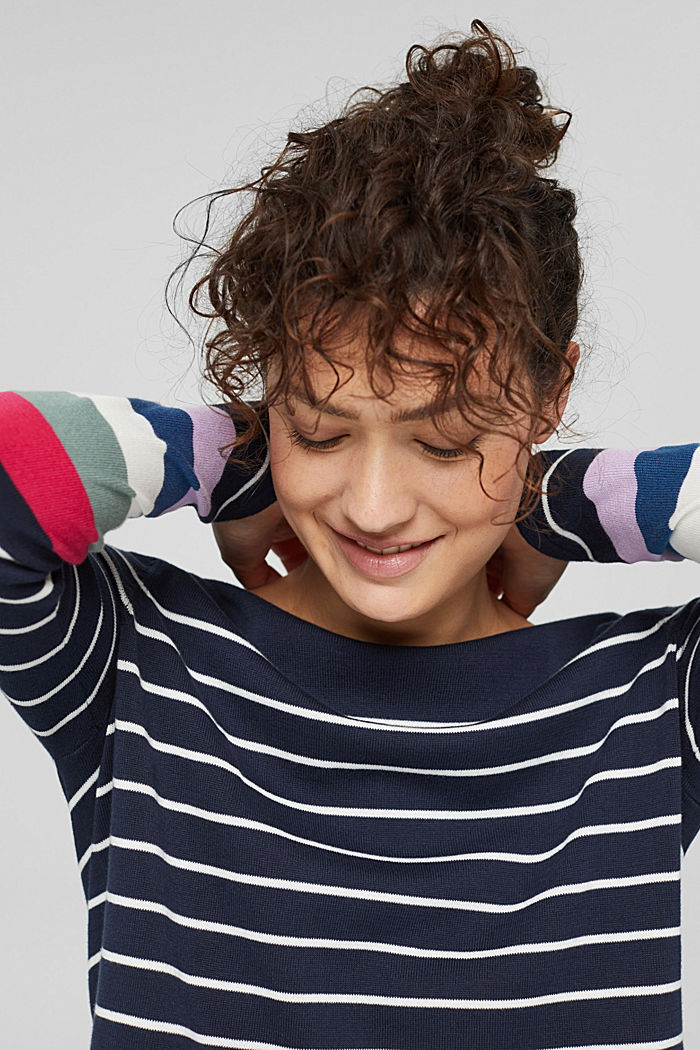 Pull-over rayé, 100 % coton, NAVY, detail image number 6
