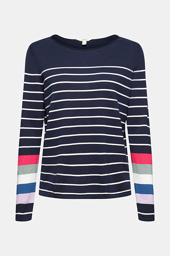 Pull-over rayé, 100 % coton, NAVY, detail image number 8