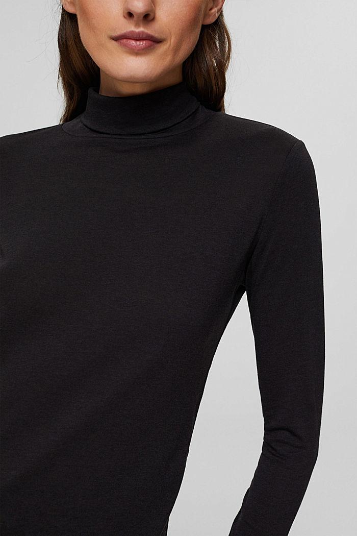 Met TENCEL™: longsleeve met opstaande kraag, BLACK, detail image number 2
