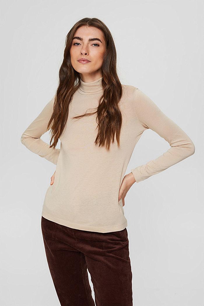À teneur en TENCEL™: le t-shirt à manches longues et col droit, SAND, detail image number 0