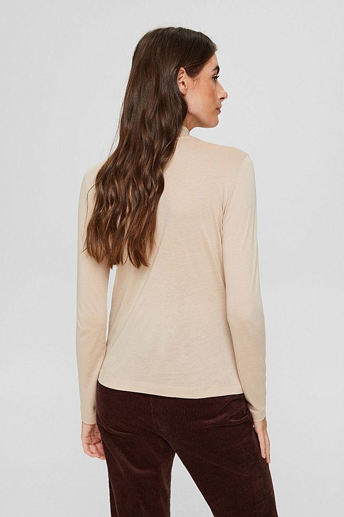 À teneur en TENCEL™: le t-shirt à manches longues et col droit, SAND, detail image number 3