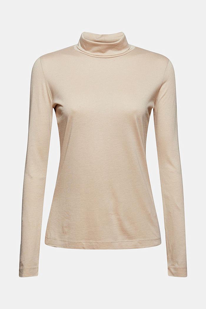 À teneur en TENCEL™: le t-shirt à manches longues et col droit, SAND, detail image number 7