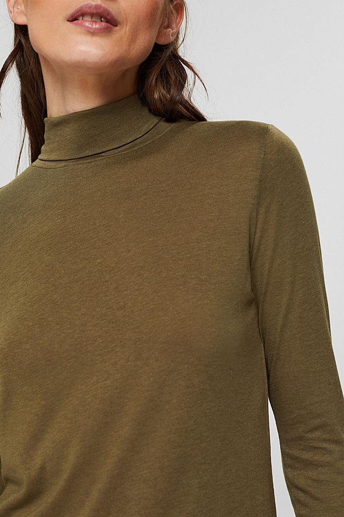 À teneur en TENCEL™: le t-shirt à manches longues et col droit, DARK KHAKI, detail image number 2