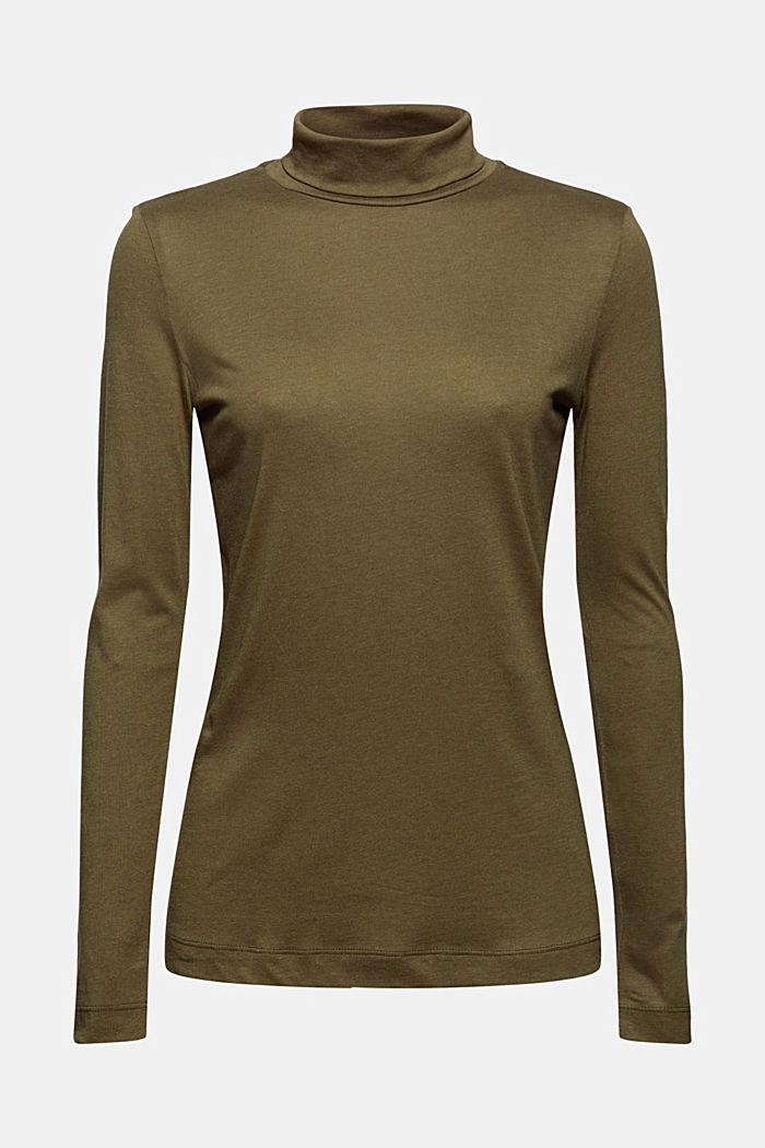À teneur en TENCEL™: le t-shirt à manches longues et col droit, DARK KHAKI, detail image number 6