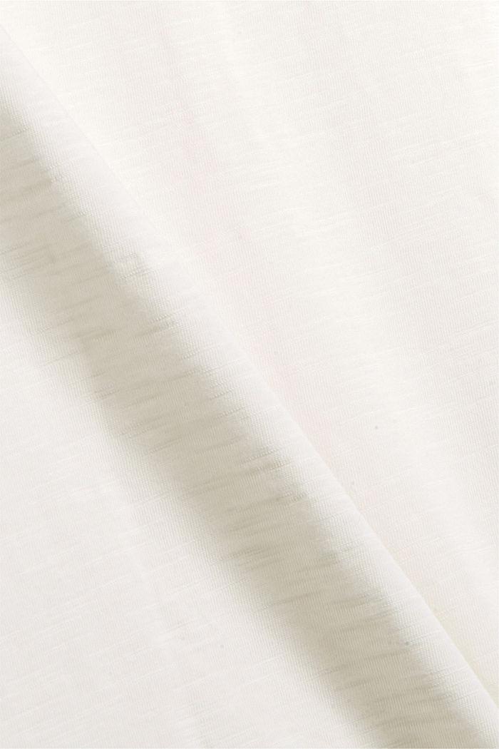 Camiseta de manga larga con cuello tunecino, 100 % algodón ecológico, OFF WHITE, detail image number 4