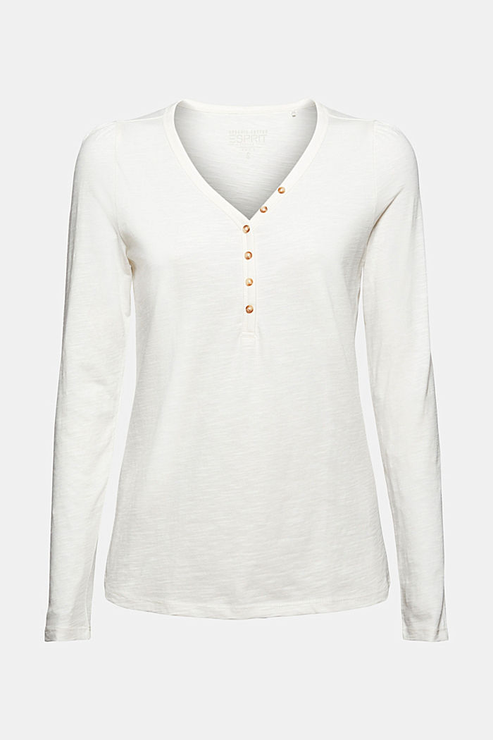 Camiseta de manga larga con cuello tunecino, 100 % algodón ecológico, OFF WHITE, detail image number 6