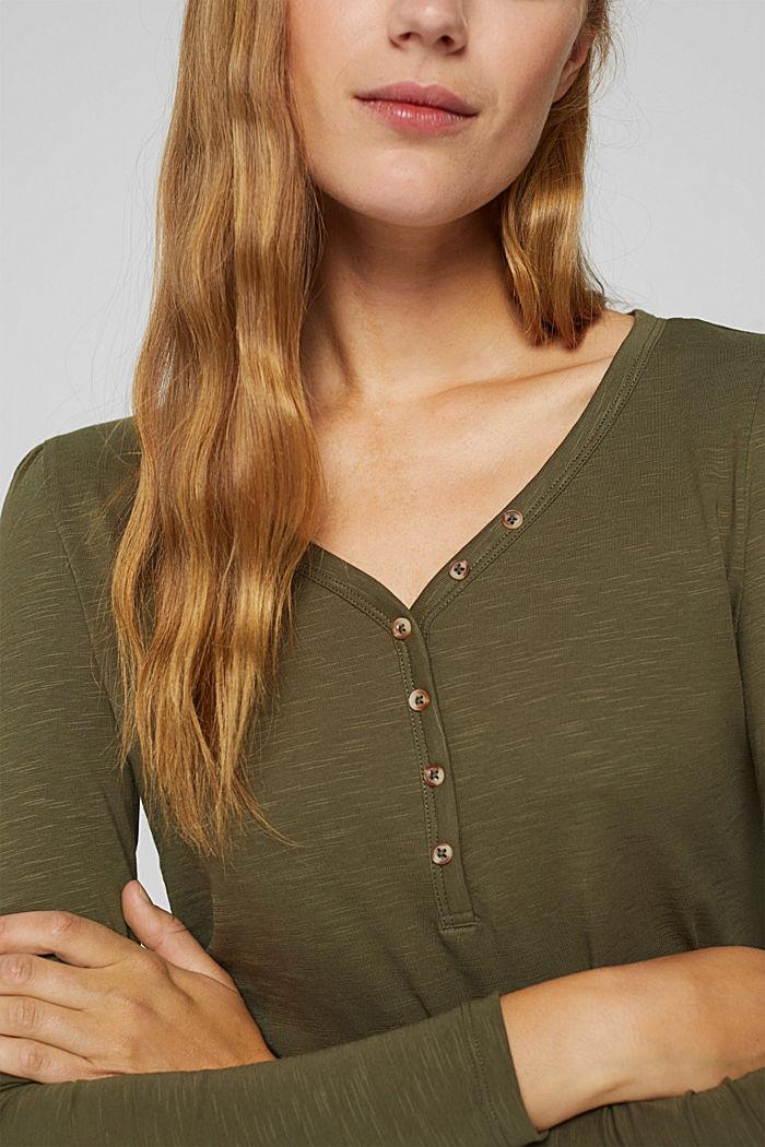 T-shirt à manches longues et col tunisien, 100% coton biologique, DARK KHAKI, detail image number 2