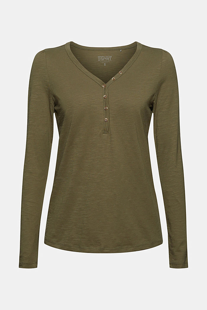 Henley long sleeve top made of 100% organic cotton