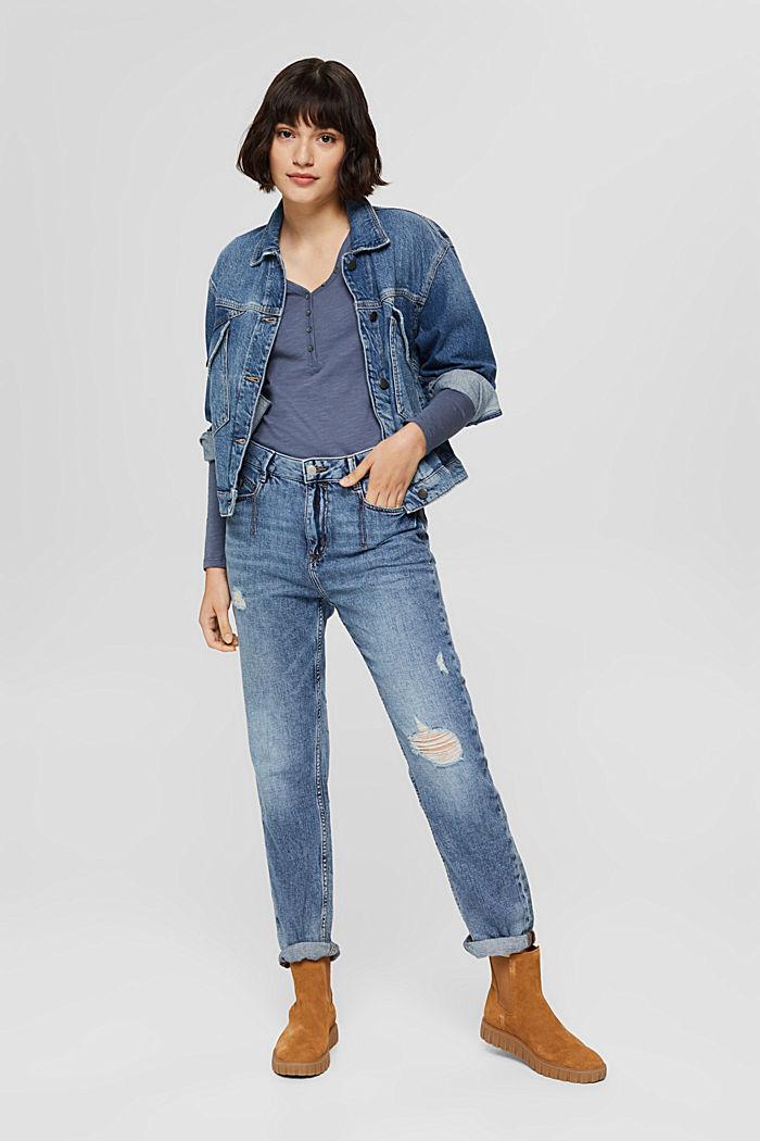 T-shirt à manches longues et col tunisien, 100% coton biologique, GREY BLUE, detail image number 1