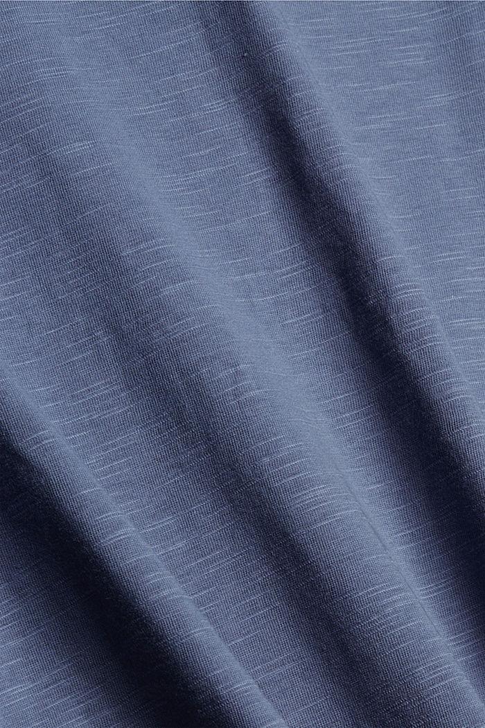 T-shirt à manches longues et col tunisien, 100% coton biologique, GREY BLUE, detail image number 4