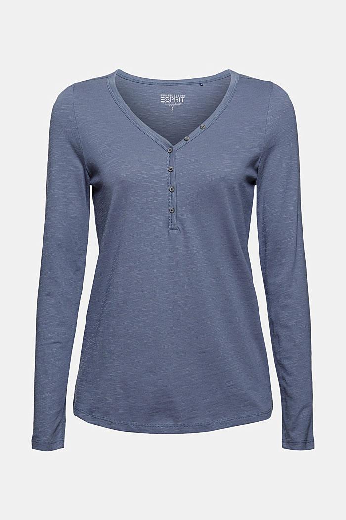 T-shirt à manches longues et col tunisien, 100% coton biologique, GREY BLUE, detail image number 6