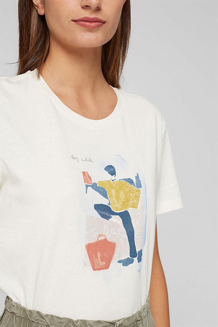 T-shirt met print, 100% biologisch katoen, OFF WHITE, detail image number 2