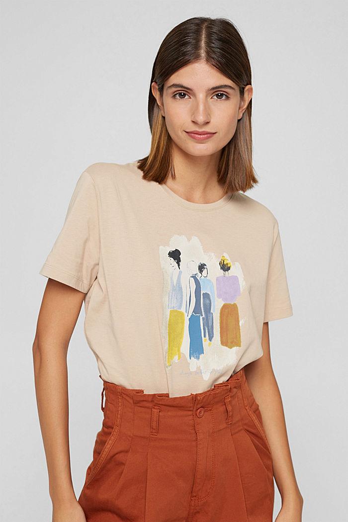 T-shirt met print, 100% biologisch katoen, SAND, detail image number 0