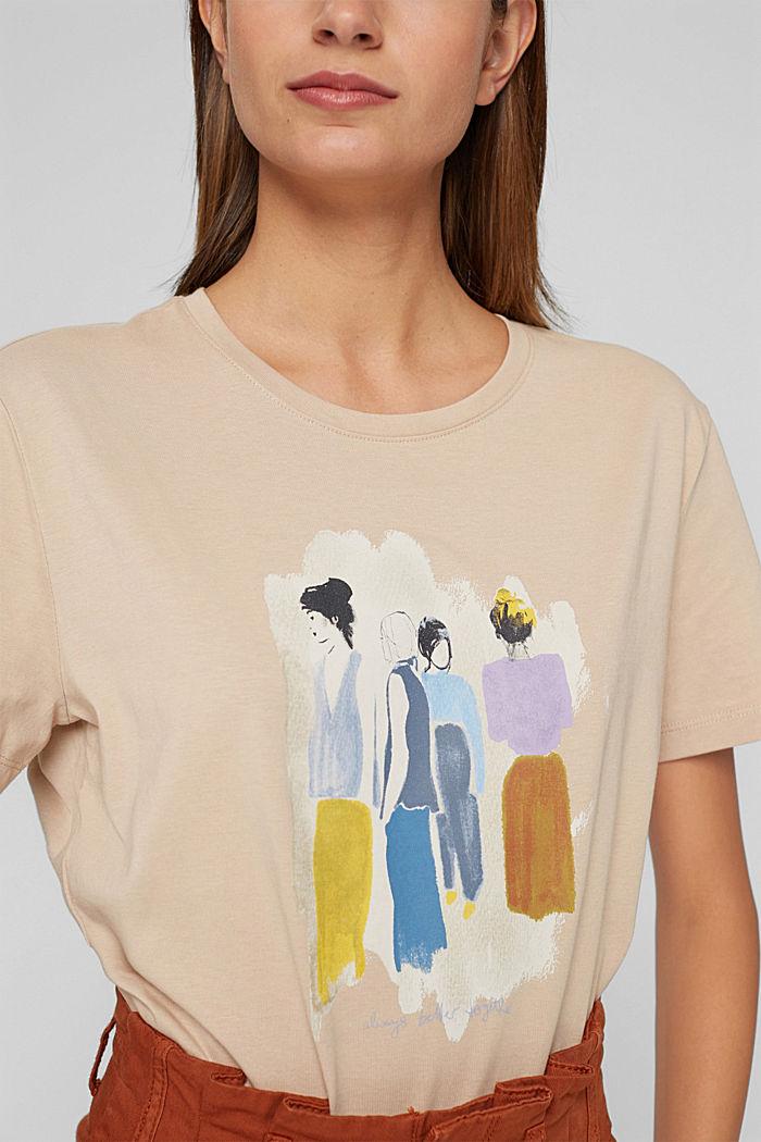 T-shirt met print, 100% biologisch katoen, SAND, detail image number 2