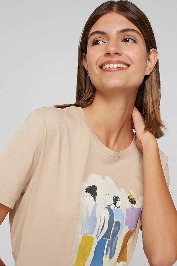 T-shirt met print, 100% biologisch katoen, SAND, detail image number 5