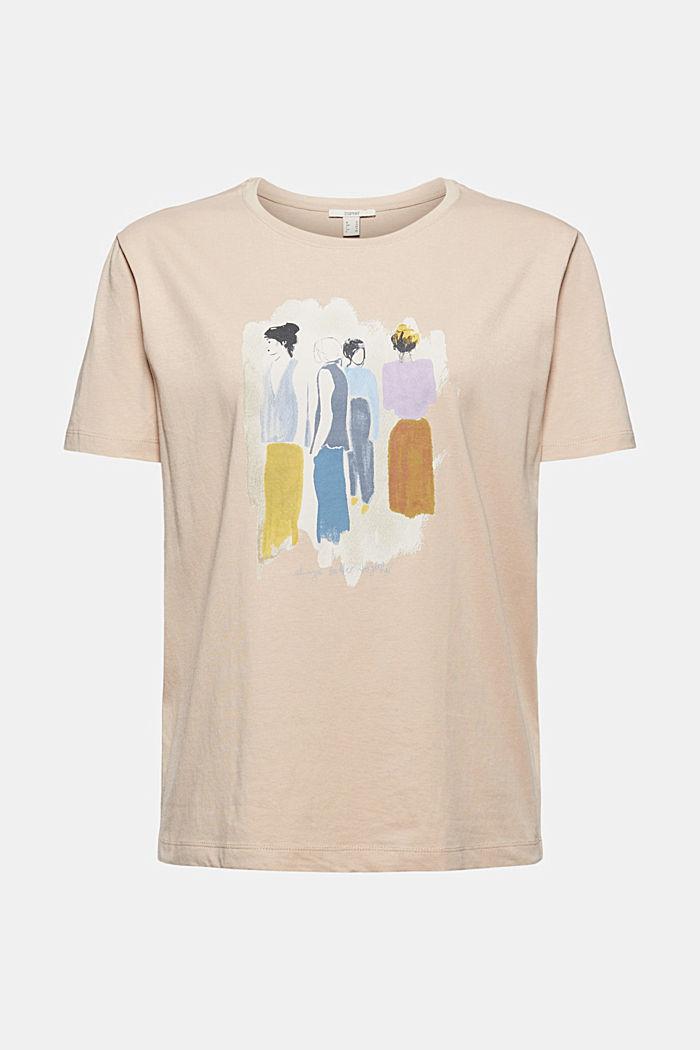T-shirt met print, 100% biologisch katoen, SAND, detail image number 7