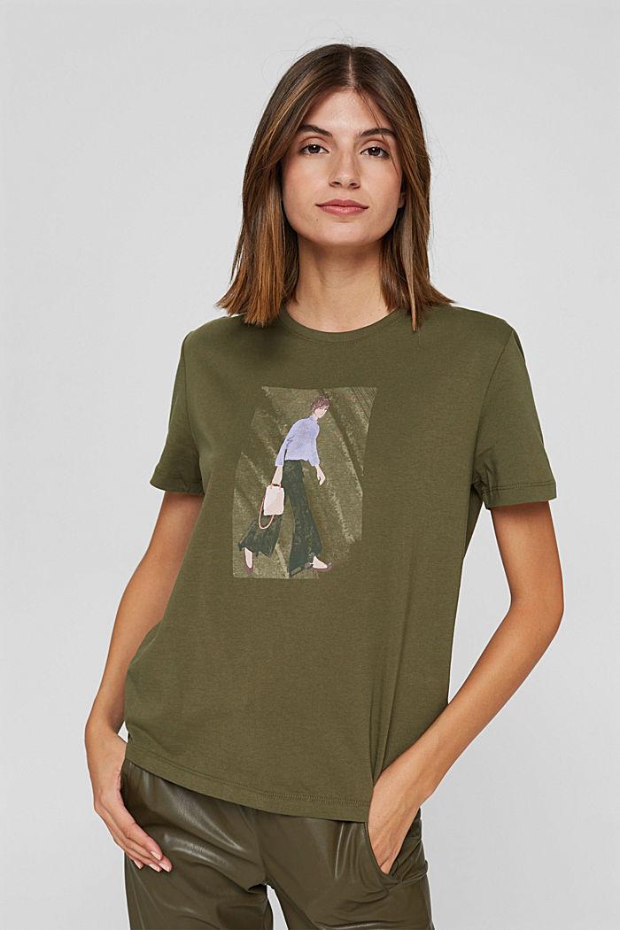 T-shirt met print, 100% biologisch katoen, DARK KHAKI, detail image number 0