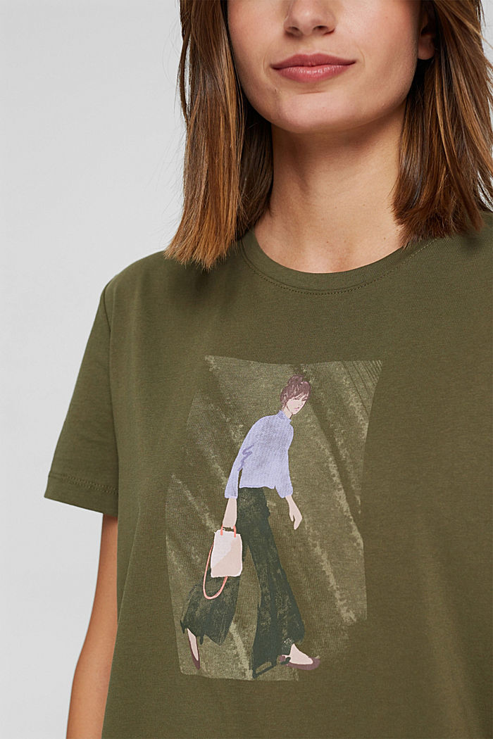 T-shirt met print, 100% biologisch katoen, DARK KHAKI, detail image number 2