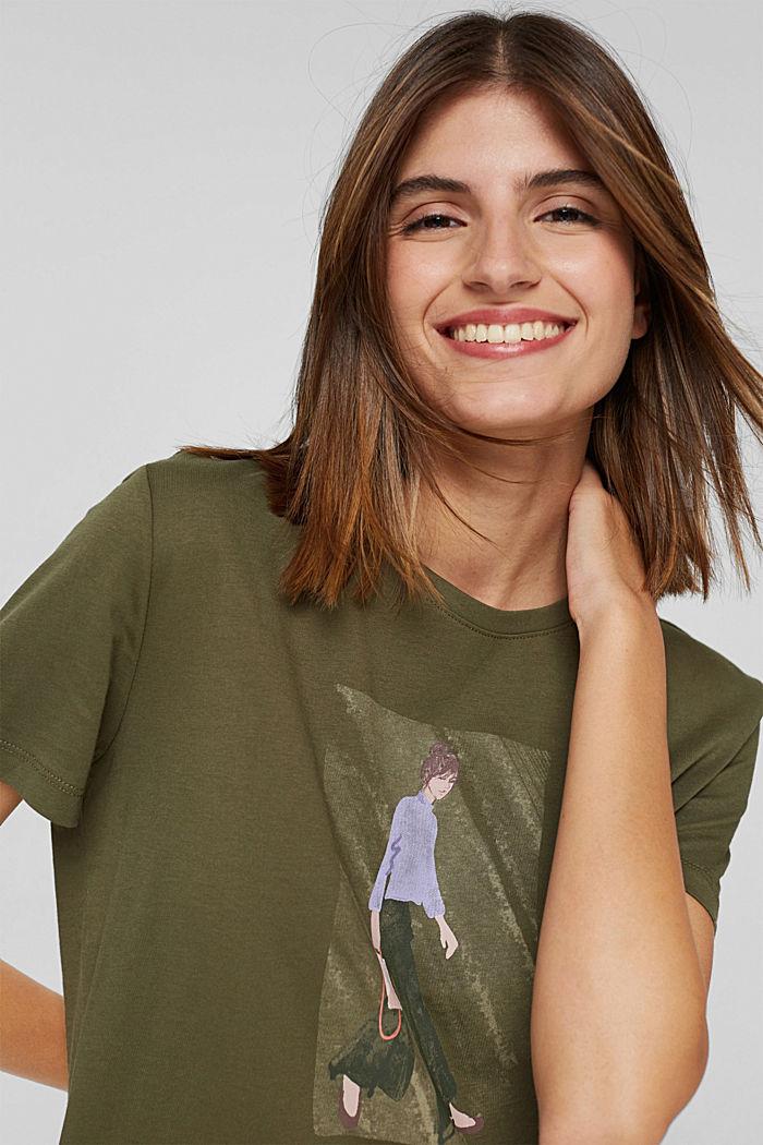 T-shirt met print, 100% biologisch katoen, DARK KHAKI, detail image number 5