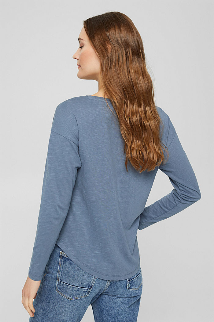 Longsleeve met borduursel, organic cotton, GREY BLUE, detail image number 3