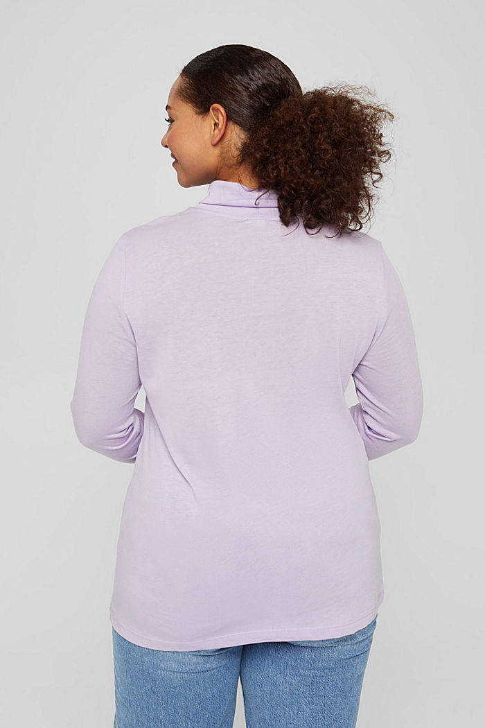 CURVY long sleeve top with a polo neck, TENCEL™, LILAC, detail image number 3