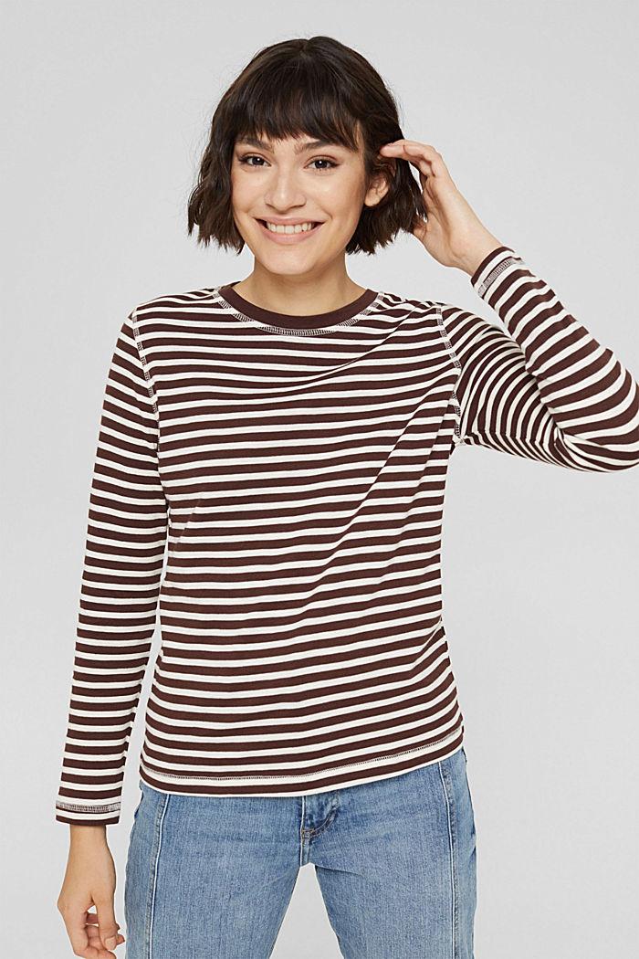 Camiseta de manga larga de algodón ecológico con diseño a rayas, RUST BROWN, detail image number 0