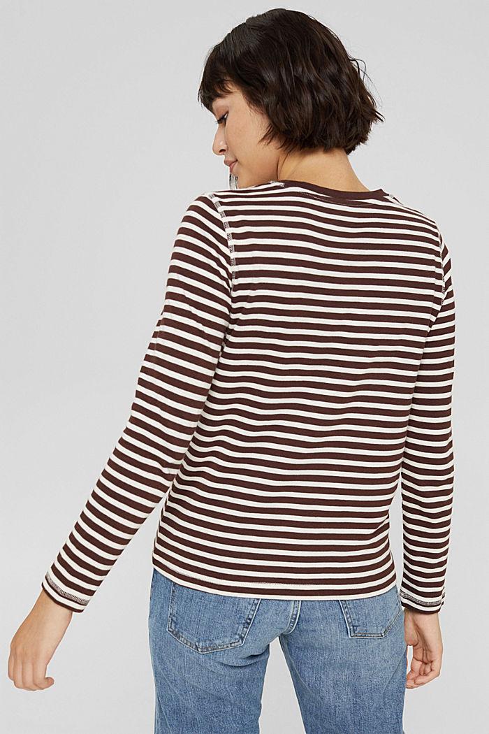 Camiseta de manga larga de algodón ecológico con diseño a rayas, RUST BROWN, detail image number 3