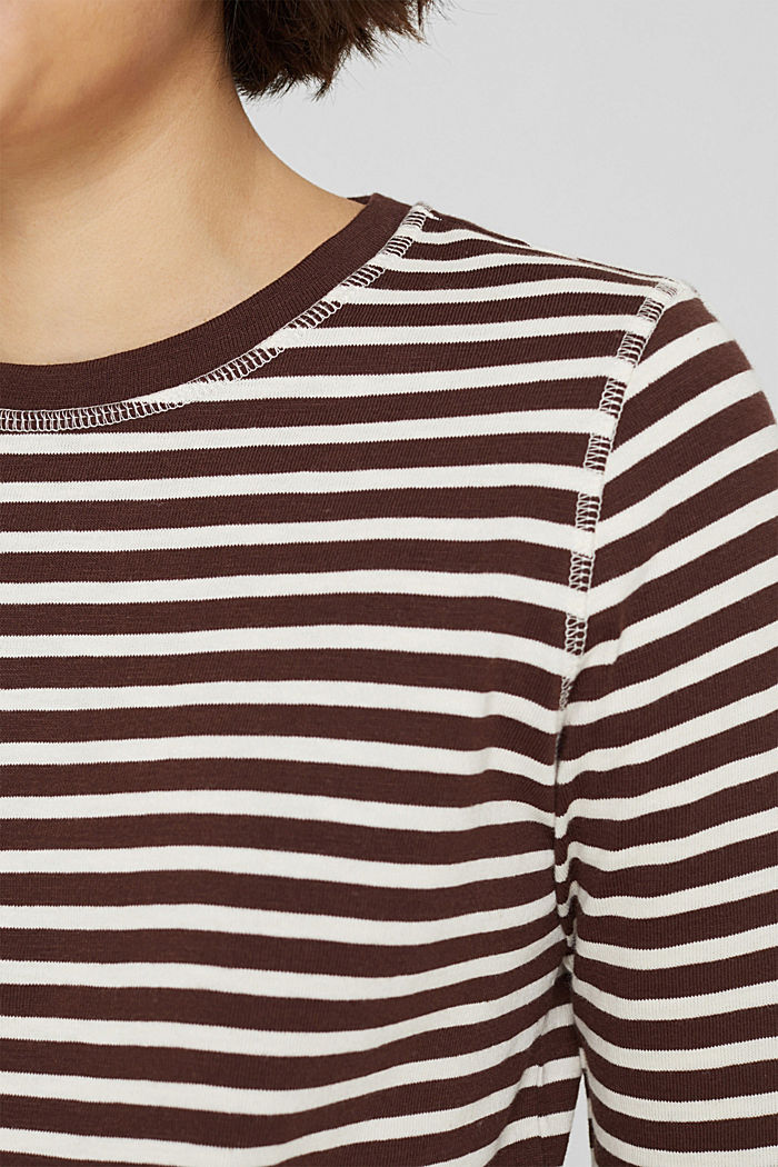 Camiseta de manga larga de algodón ecológico con diseño a rayas, RUST BROWN, detail image number 2
