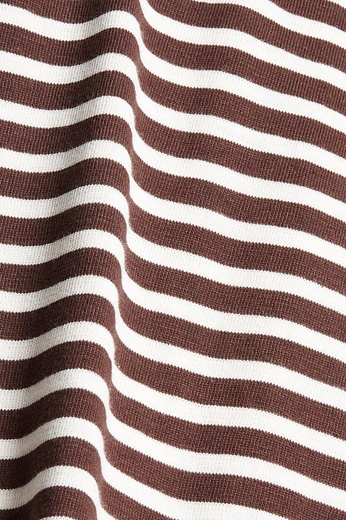 Camiseta de manga larga de algodón ecológico con diseño a rayas, RUST BROWN, detail image number 4