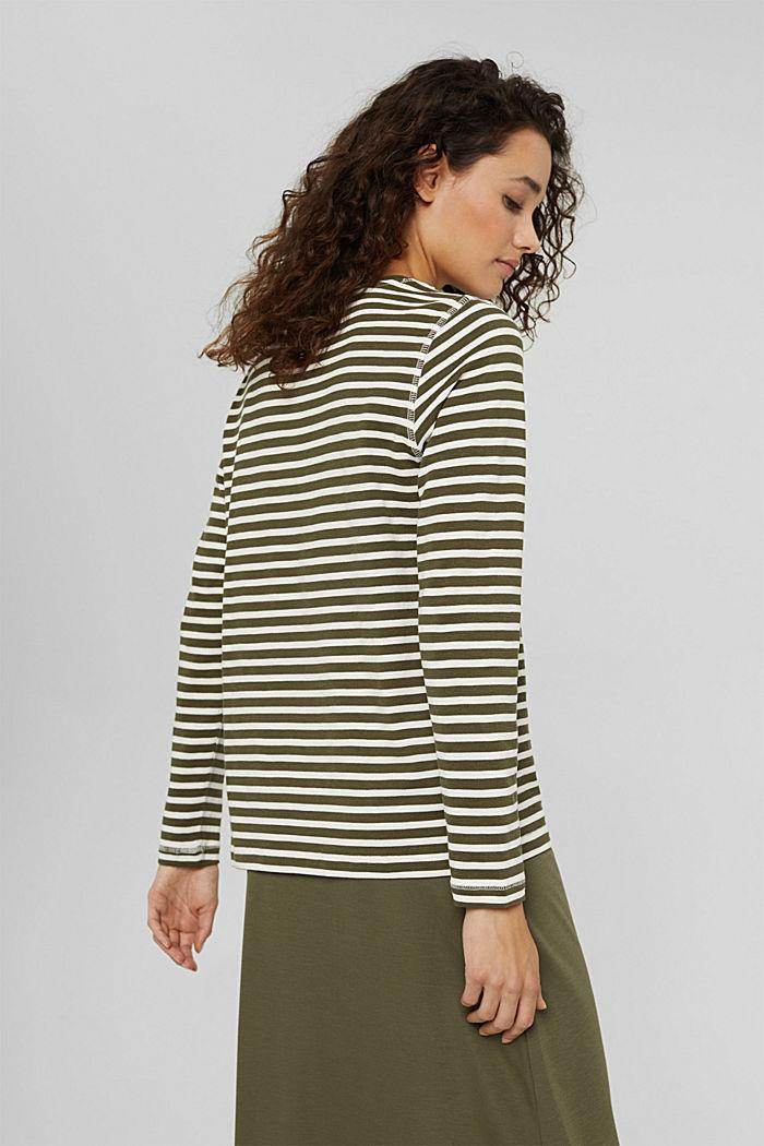Striped long sleeve top in organic cotton, DARK KHAKI, detail image number 3