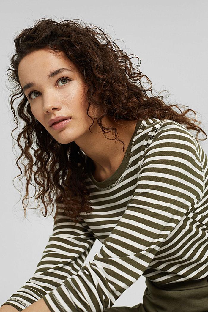 Striped long sleeve top in organic cotton, DARK KHAKI, detail image number 5