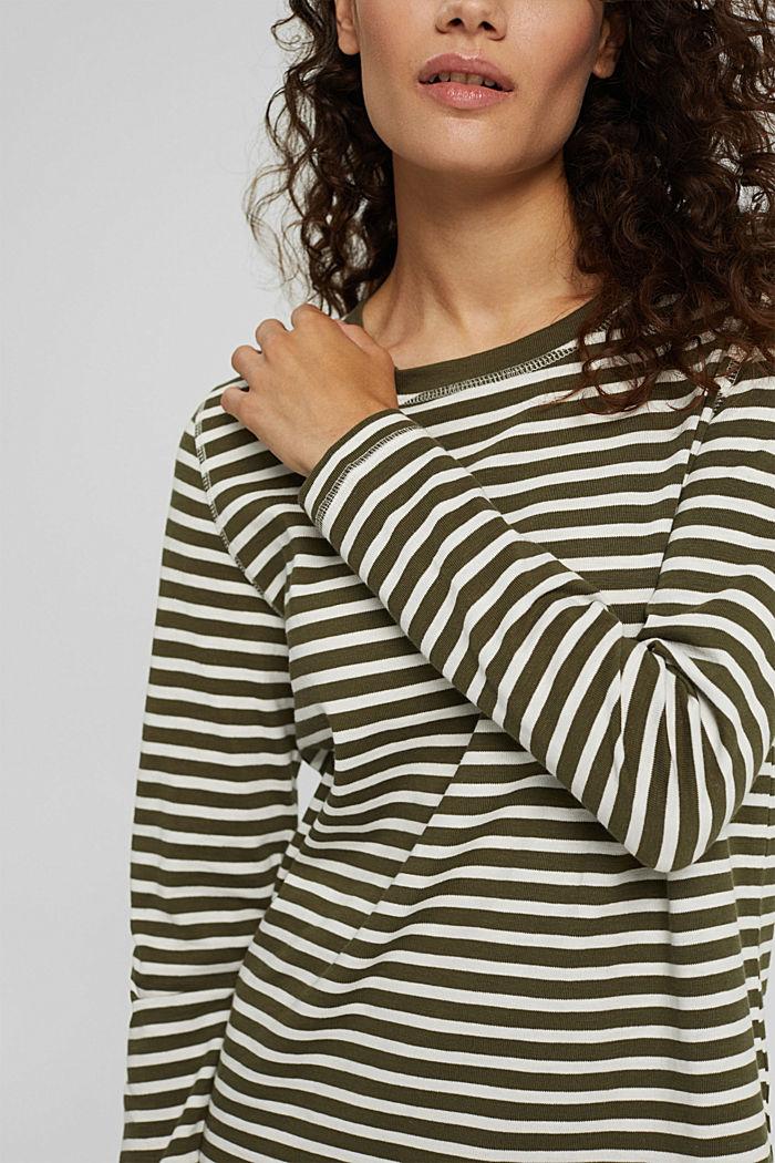 Striped long sleeve top in organic cotton, DARK KHAKI, detail image number 2