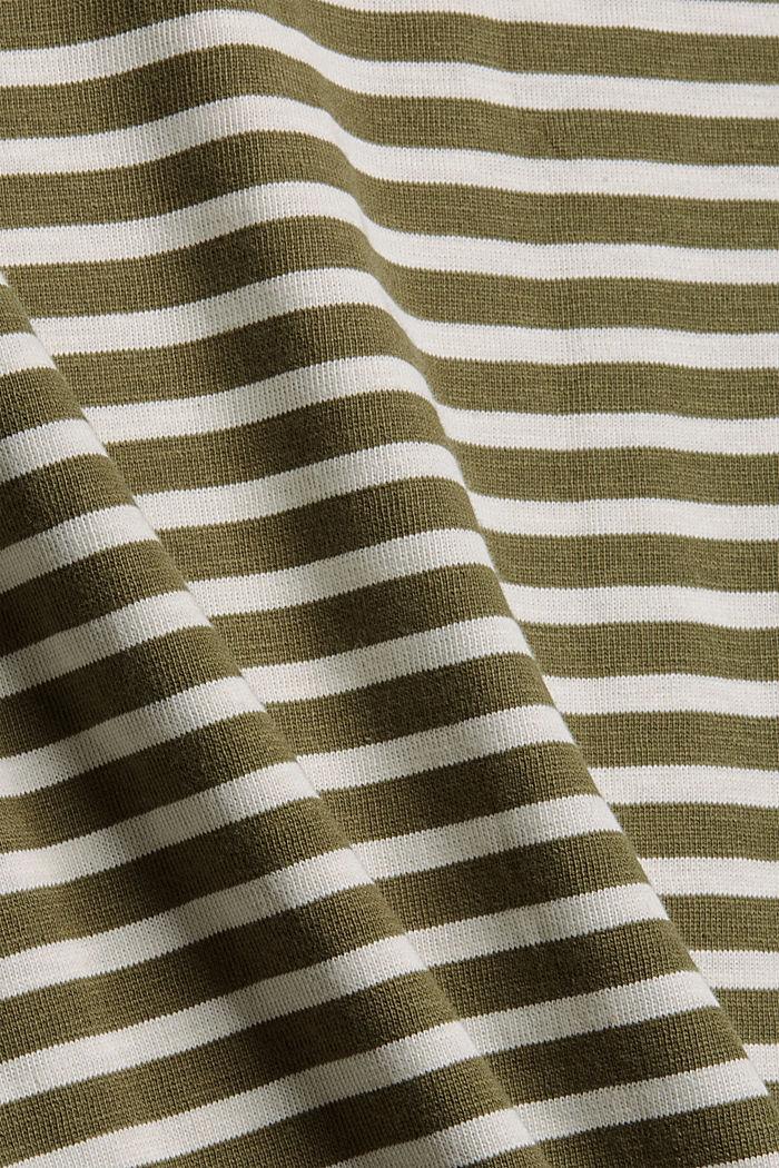 Striped long sleeve top in organic cotton, DARK KHAKI, detail image number 4