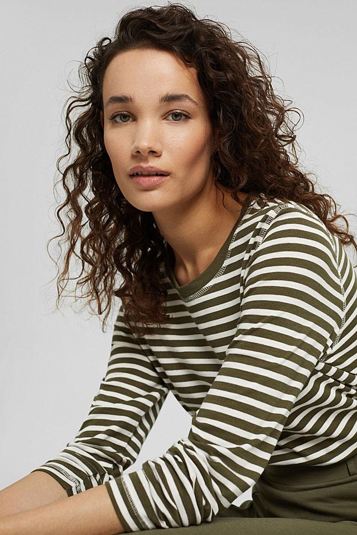 Striped long sleeve top in organic cotton, DARK KHAKI, detail image number 6
