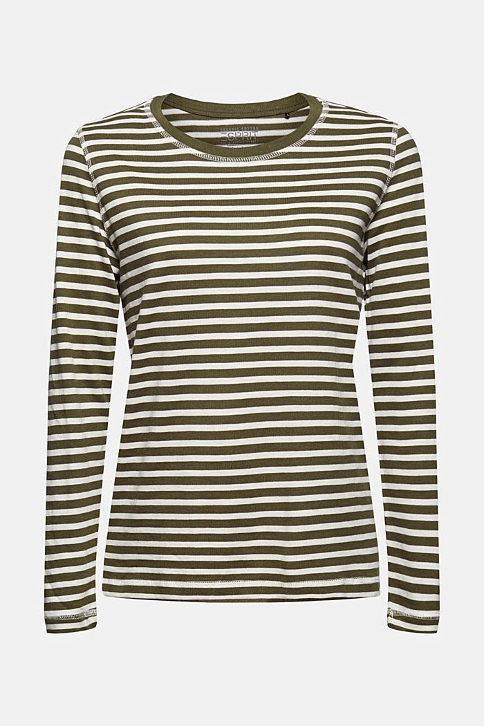 Striped long sleeve top in organic cotton, DARK KHAKI, detail image number 7
