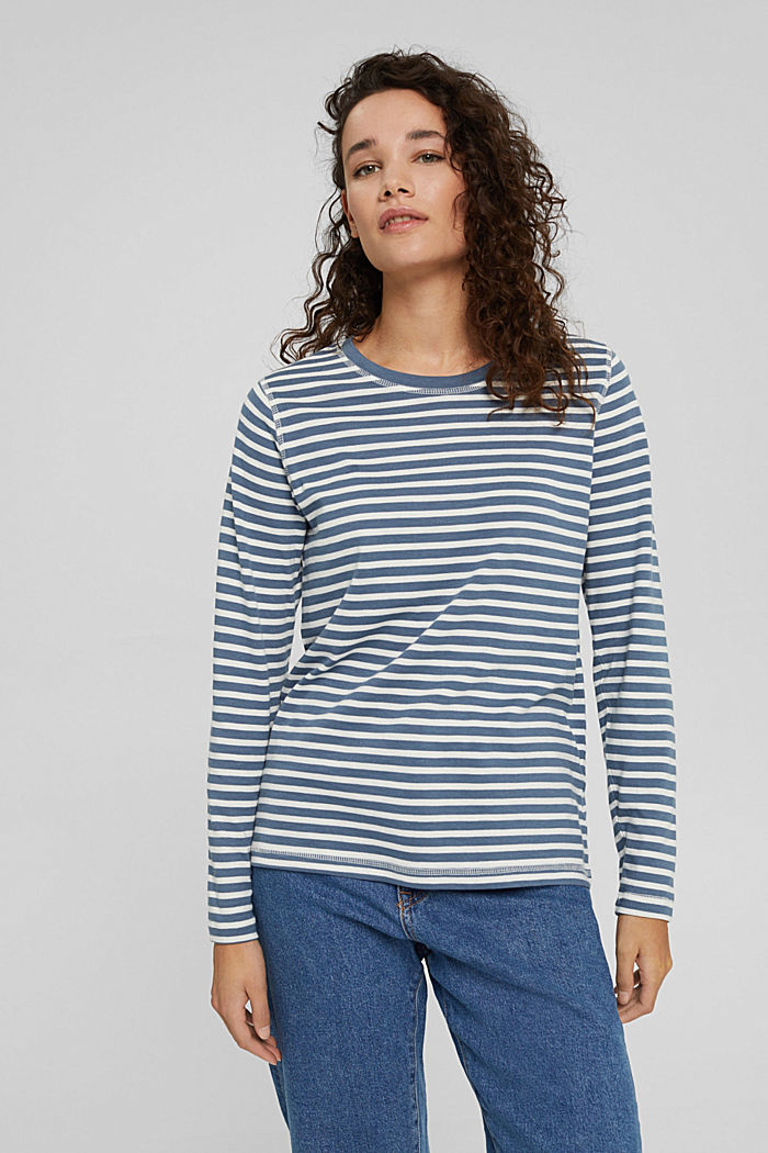 Striped long sleeve top in organic cotton, GREY BLUE, detail image number 0