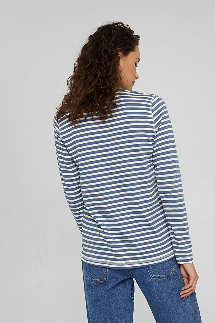 Striped long sleeve top in organic cotton, GREY BLUE, detail image number 3