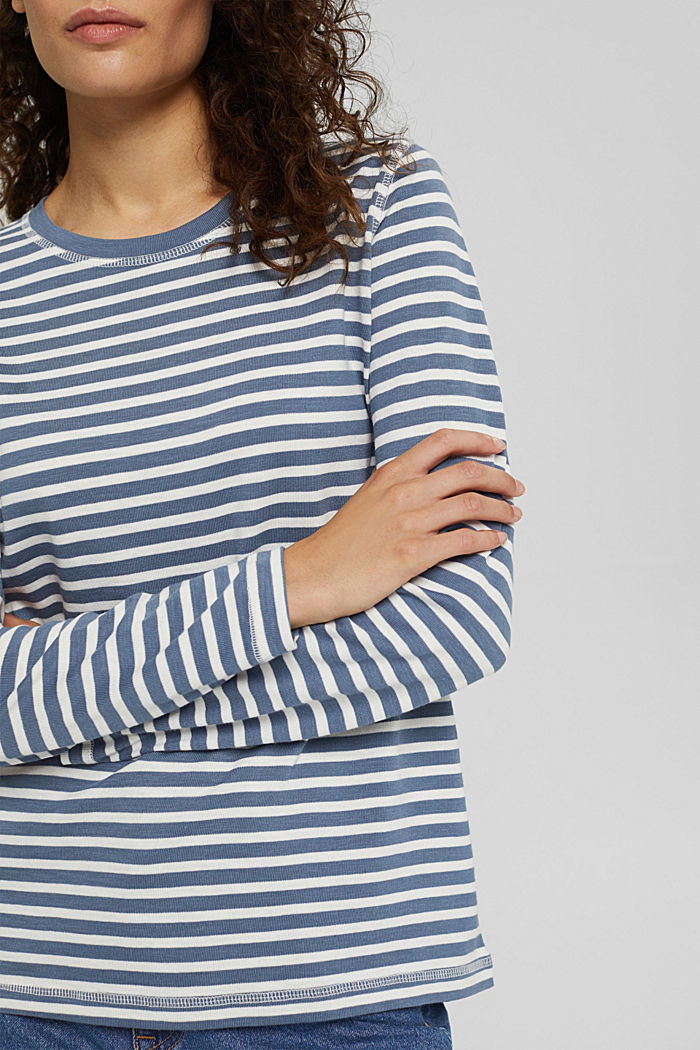 Striped long sleeve top in organic cotton, GREY BLUE, detail image number 2