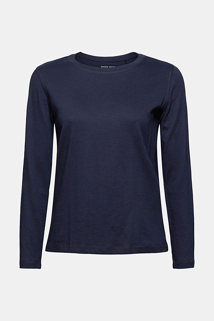 Long sleeve top made of 100% organic cotton, NAVY, detail image number 5