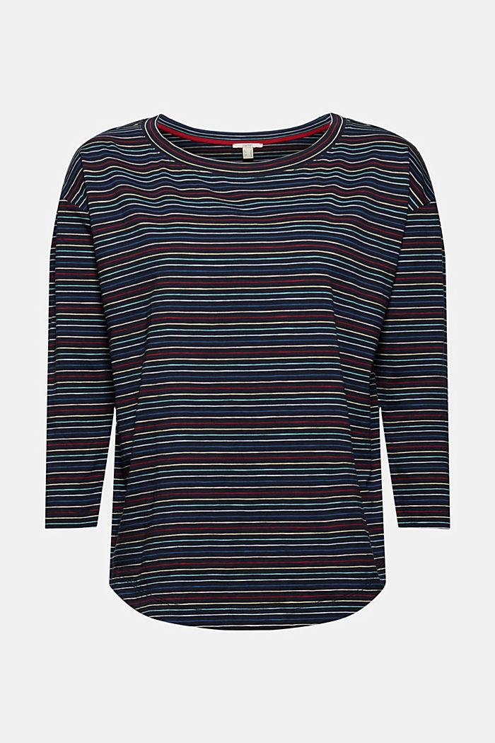 T-shirt à manches longues rayé, 100% coton bio