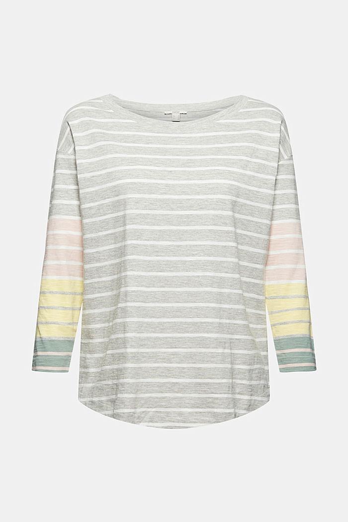 T-shirt à manches longues à rayures, coton biologique mélangé