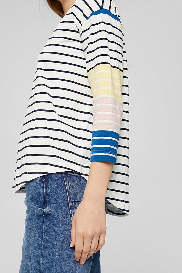 Gestreept shirt van 100% biologisch katoen, OFF WHITE, detail image number 2