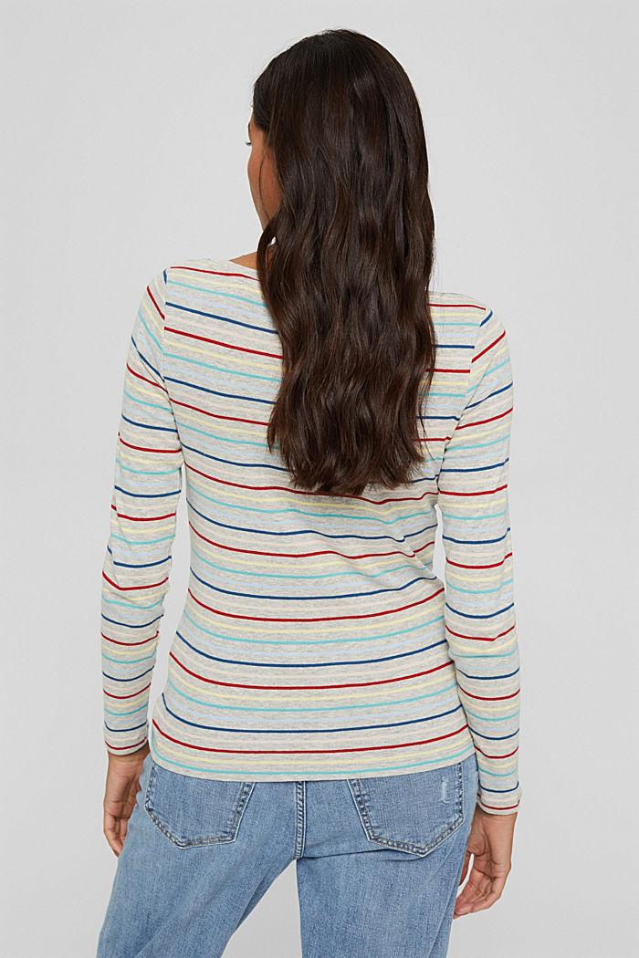 Camiseta con rayas en mezcla de algodón, LIGHT GREY, detail image number 3