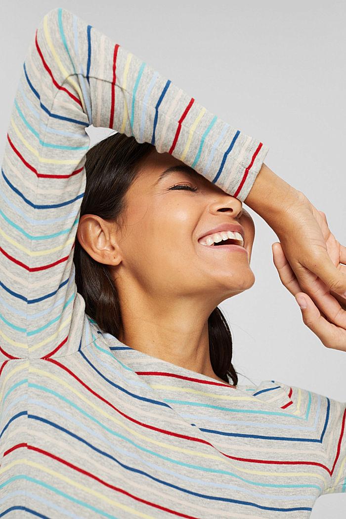 Camiseta con rayas en mezcla de algodón, LIGHT GREY, detail image number 5