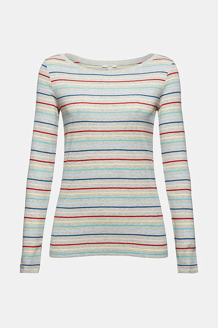 Camiseta con rayas en mezcla de algodón, LIGHT GREY, detail image number 6